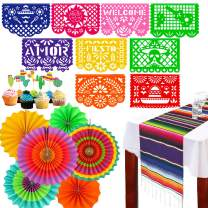 Coco Decorations Mexican Fiesta Theme Party Supplies -Table Runner Large Felt Papel Picado Banner Cupcake Toppers Colorful Paper Fans Set for Birthday,Wedding, Festival, Christmas, Cinco De Mayo