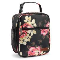 LOKASS Insulated Lunch Box Reusable Lunch Bag Thermal Meal Prep Lunch Box Water Resistant Floral Tote Cooler Bag for Women, Adults Office Work Picnic Beach Camping, Peony