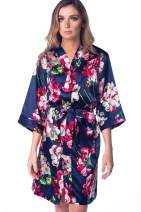 Women's Floral Satin Silky Robe Kimono for Bride Bridesmaids Flower Girls Comfy Robe for Kids and Plus Size Women