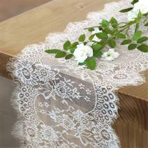 Luoluohouse White Table Runner 14x120 Inch Vintage Lace Runner for Rectangle Tables Chic Embroidered Outdoor Table Decoration Wedding Table Runner