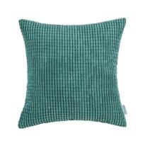 CaliTime Cozy Throw Pillow Cover Case for Couch Sofa Bed Comfortable Supersoft Corduroy Corn Striped Both Sides 24 X 24 Inches Teal