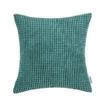 CaliTime Cozy Throw Pillow Cover Case for Couch Sofa Bed Comfortable Supersoft Corduroy Corn Striped Both Sides 18 X 18 Inches Teal