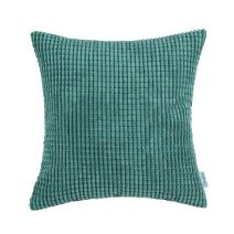 CaliTime Cozy Throw Pillow Cover Case for Couch Sofa Bed Comfortable Supersoft Corduroy Corn Striped Both Sides 20 X 20 Inches Teal