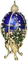 Matashi Hand Painted Hinged Top Blue Faberge Easter Egg Ornament Trinket Box Embellished with 24K Gold, Pearls, Crystals Inspired by Peter Carl Faberge Tabletop Showpiece Gift for Christmas Birthday