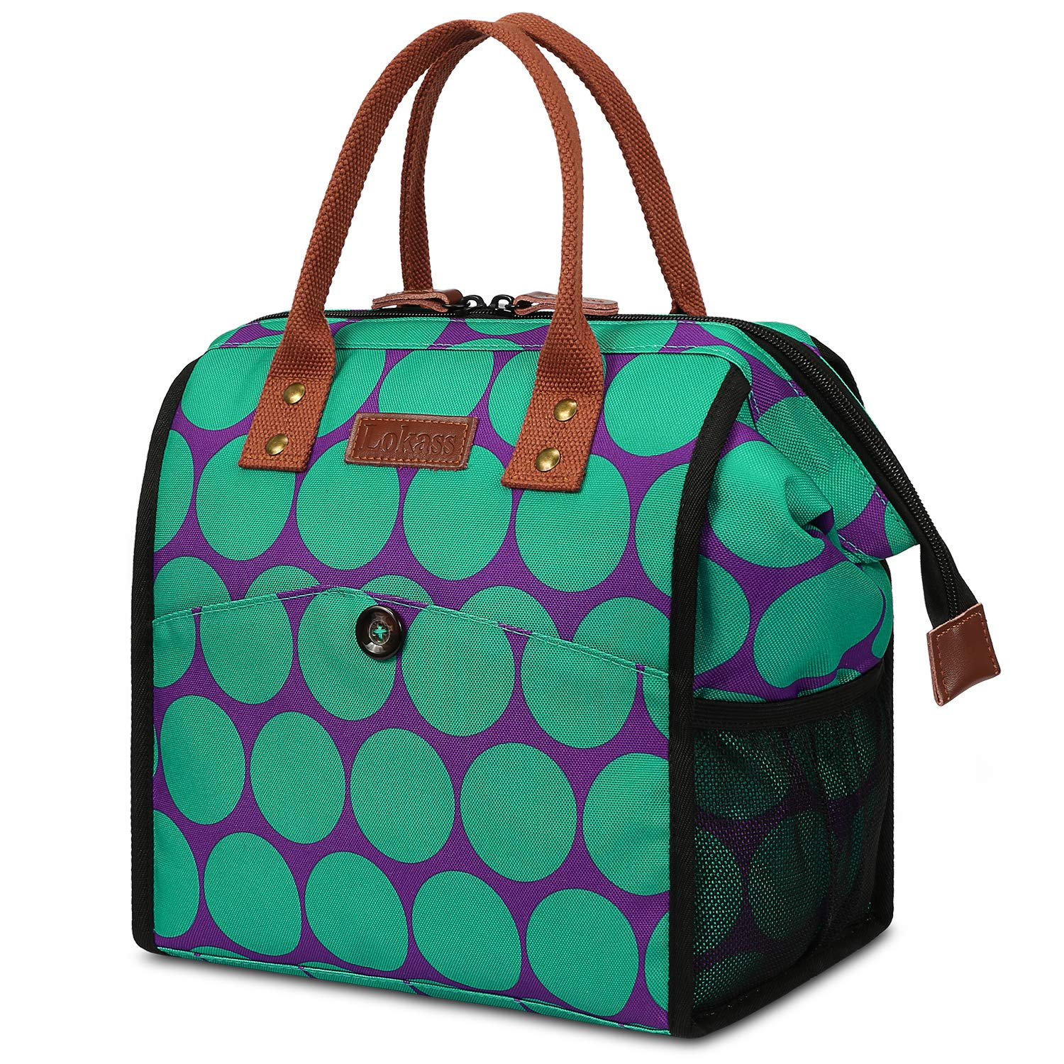 LOKASS Lunch Bag Cooler Bag Women Tote Bag Insulated Lunch Box Water-resistant Thermal Lunch Bag Soft Lunch Bags with wide-open for women (Green+Blue)