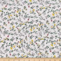 Telio Organic Stretch Cotton Jersey Floral Ecru Fabric, Yellow, Fabric By The Yard