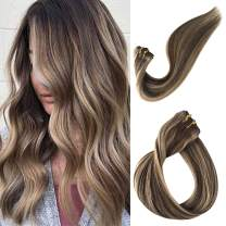 Clip in Hair Extensions Human Hair Clip on Real Remy Hair Extensions for Black Women Balayage Medium Brown with Strawberry Blond Highlights Double Weft Full Head Glueless 70g 7pcs 16 Clips 15 Inch