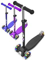 SMIZZE Deluxe - Scooter for Kids Age 3-9 - Adjustable Balance Mini Kick Scooters - for Boys and Girls - with Extra Wide Deck & 3 Led Flashing Wheels