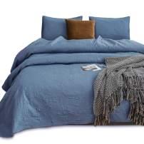 KASENTEX Coverlet Quilt Set-Pre Washed-Luxury Microfiber Soft Warm Bedding-Solid Colors Bedspread-Contemporary Floral Design (Natural Bluestone Floral, Queen + 2 Shams)