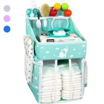 Hanging Diaper Caddy – Crib Diaper Organizer – Diaper Stacker for Crib, Playard or Wall – Newborn Boy and Girl Diaper Holder for Changing Table - Baby Shower Gifts- Elephant Green - 17x9x9 inches