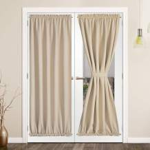 SHEEROOM French Door Curtains, Thermal Insulated Drapes Rod Pocket Blackout Privacy Panel for Living Room Patio Glass Door Window with Tieback Set of 2 Panels, 54 x 40 inch, Beige