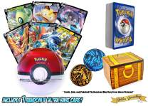 50 Pokemon Card Lot - Featuring 1 V Ultra Rare - 1 Random Sealed Pokeball Tin with Booster Packs and 1 Coin! Includes a Golden Groundhog Box!