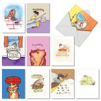 10 'Kitty Birthday' Greeting Cards with Envelopes - Boxed Note Cards with Funny Cat, Kitten, Animal Puns and Comics - Assorted Stationery Notecards with Happy Bday 4 x 5.12 inch M3791BDG-B1x10