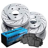 Fit Lexus GS430, IS350, GS350 Front Rear Drill Slot Brake Rotors Kit+Ceramic Pads