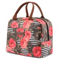 LOKASS Lunch Bag Cooler Bag Women Tote Bag Insulated Lunch Box Water-resistant Thermal Lunch Bag Soft Liner Lunch Bags for women/Picnic/Boating/Beach/Fishing/Work (Rose)