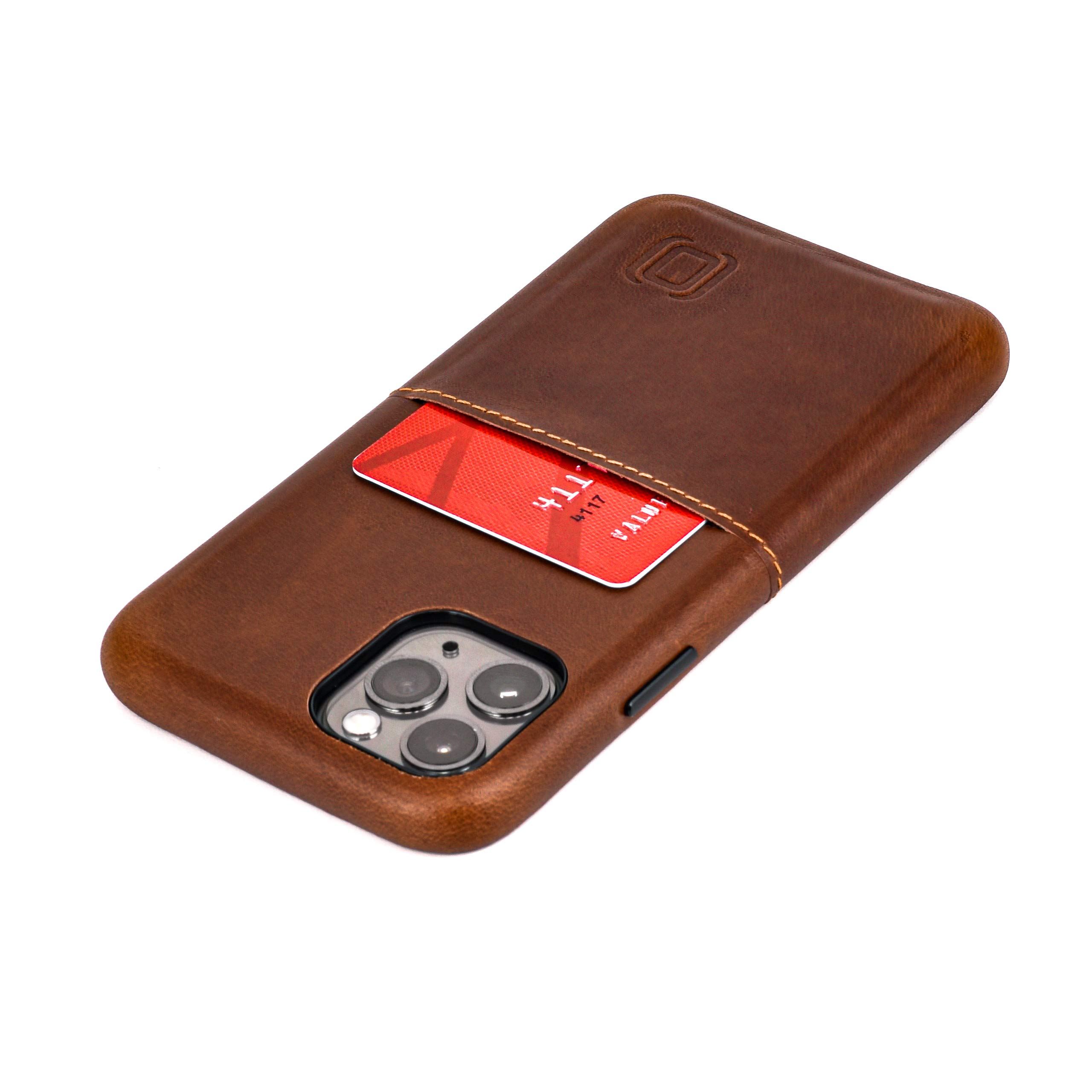 """Dockem iPhone 11 Pro Virtuosa M1 Wallet Case (5.8""""): Built-in Metal Plate for Magnetic Mounting with Top Grain Genuine Leather: M-Series [Brown]"""