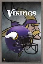 """Trends International NFL Minnesota Vikings - Helmet, 22.375"""" x 34"""", Barnwood Framed Version"""