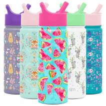 Simple Modern 18oz Summit Kids Water Bottle Thermos with Straw Lid - Dishwasher Safe Vacuum Insulated Double Wall Tumbler Travel Cup 18/8 Stainless Steel -Watermelon Splash