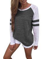 Yidarton Women's Color Block Long/Short Sleeve T Shirt Casual Round Neck Tunic Tops