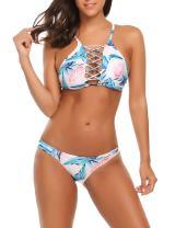 Ekouaer Wrap Bikini Set Floral Swimsuit Two Piece Push Up Top and Bottom Swimwear S-XXL