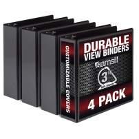 Samsill Durable 3 Inch Binder Black D Ring Binder/Customizable Clear View Binder/Bulk Binder 4 Pack/Black 3 Ring Binder 3 inch
