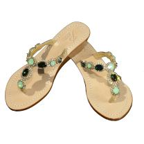 Gorgeous Jeweled Genuine Leather Shoes Pasha, Style Sao Paulo Emerald