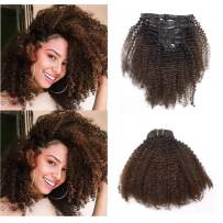 Anrosa Kinkys Curly Clip in Hair Extensions Human Hair 3C 4A Afro Kinky Curly Clip ins Natural Hair Real Remy Thick Human Hair Extensions for Black Women (18 inch, Ombre #1B/4)