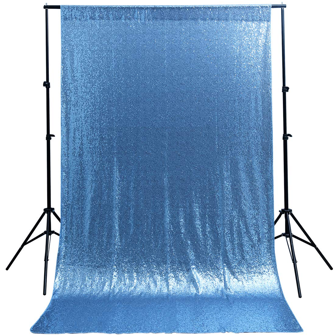 Baby Blue Sequin Backdrop 4ftx6.5ft Royal Prince Baby Shower Backdrop Decoration Photography Background Curtain