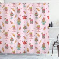 """Ambesonne Ice Cream Shower Curtain, Retro Style Cupcakes Teapots Candies Cookies on Polka Dots Vintage Kitchen Print, Cloth Fabric Bathroom Decor Set with Hooks, 84"""" Long Extra, Pastel Pink"""