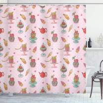 "Ambesonne Ice Cream Shower Curtain, Retro Style Cupcakes Teapots Candies Cookies on Polka Dots Vintage Kitchen Print, Cloth Fabric Bathroom Decor Set with Hooks, 84"" Long Extra, Pastel Pink"