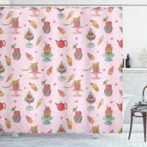 """Ambesonne Ice Cream Shower Curtain, Retro Style Cupcakes Teapots Candies Cookies on Polka Dots Vintage Kitchen Print, Cloth Fabric Bathroom Decor Set with Hooks, 70"""" Long, Pastel Pink"""