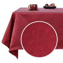 Deconovo Designer Series Red Tablecloth for Rectangle Tables Christmas 54 inch Width Tablecloth Water Resistant Jacquard Table Cloth for Living Room 54x120 Inch Burgundy Red