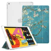 """Fintie Case for New iPad 7th Generation 10.2 Inch 2019 - Lightweight Slim Shell Stand with Translucent Frosted Back Cover Supports Auto Wake/Sleep for iPad 10.2"""" 2019 Tablet, Blossom"""