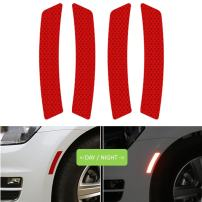 COSMOSS Reflective Safety Reflector Bumper Side Wheel Sticker Red
