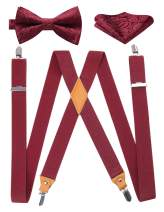 HISDERN Bowtie and Suspenders Set Men Tuxedo Suspender Trouser Braces X-Back with Strong Clips