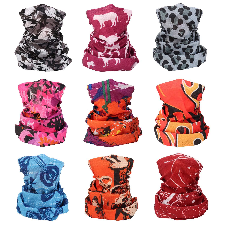 Sllaiss Seamless Headbands Bandanas for Men Women Multifunctional Face Cover Headwraps for Outdoor Sports 9pcs