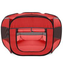 Paws & Pals Playpen for Pets Puppy, Dog, Cat Guinea Pig, Rabbit – Portable Pop Up Exercise Kennel Tent Indoor/Outdoor Pen – Foldable Travel Ready w/Carry Bag - Red