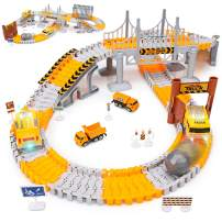 KKONES Engineering Tracks car for Kids Toys,161pcs Create A Engineering World Road Race,Flexible Track Playset and 2 pcs Cool Engineering Car for 3 4 5 6 7 Year & Up Old boy Girls Best Gift