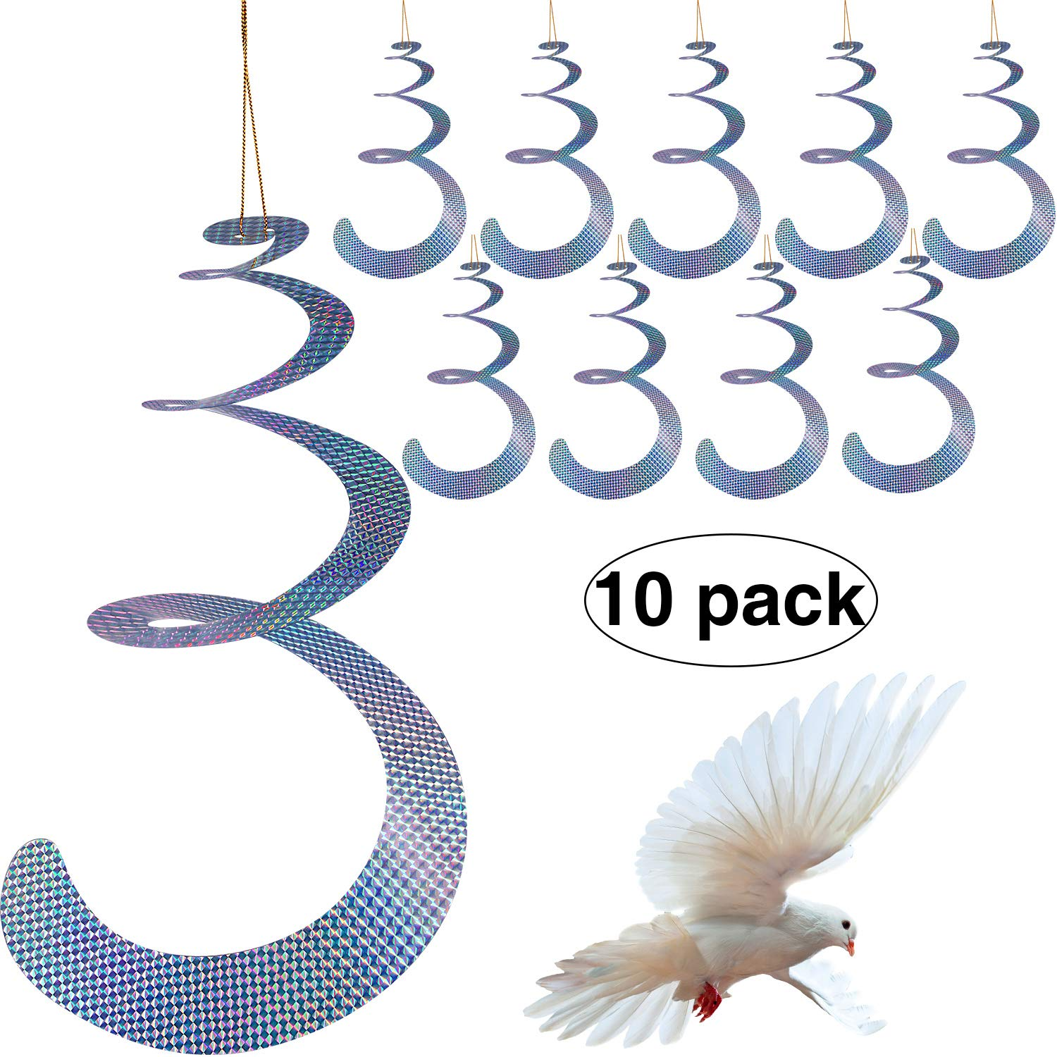 Maitys 10 Pack Bird Repellent Control Scare Device, Efficient Spiral Bird Deterrent Device Reflect Light to Scare Birds Away