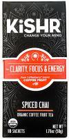 Organic Coffee Fruit Tea (Spiced Chai) Herbal Tea for Clarity, Focus and Energy, 10 Bags - KISHR
