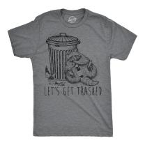 Mens Lets Get Trashed Tshirt Funny Racoon Garbage Can Drinking Tee for Guys