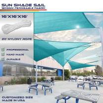 Windscreen4less 16' x 16' x 16' Triangle Sun Shade Sail - Turquoise Durable UV Shelter Canopy for Patio Outdoor Backyard - Custom