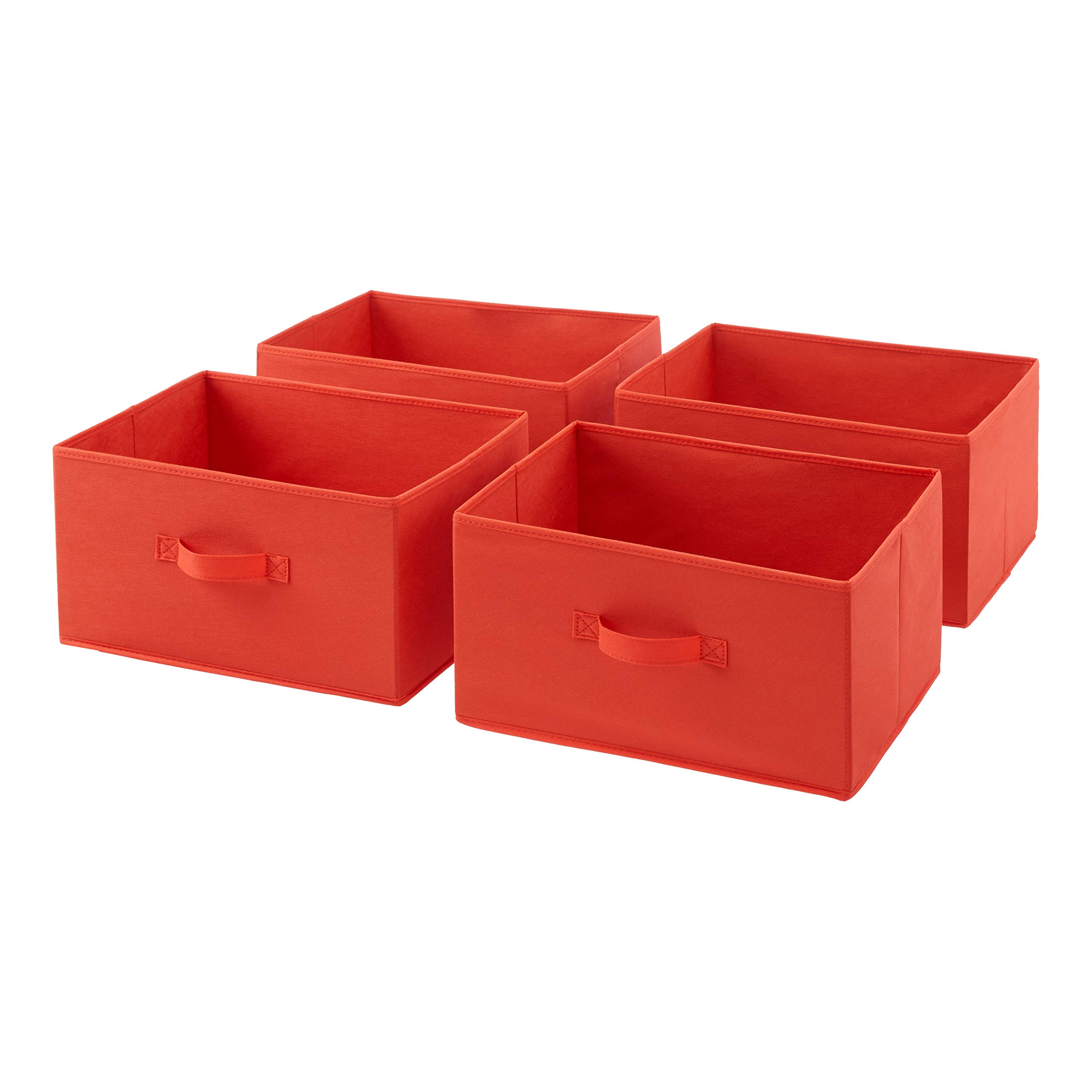 AmazonBasics Fabric 4-Drawer Storage Organizer - Replacement Drawers, Red