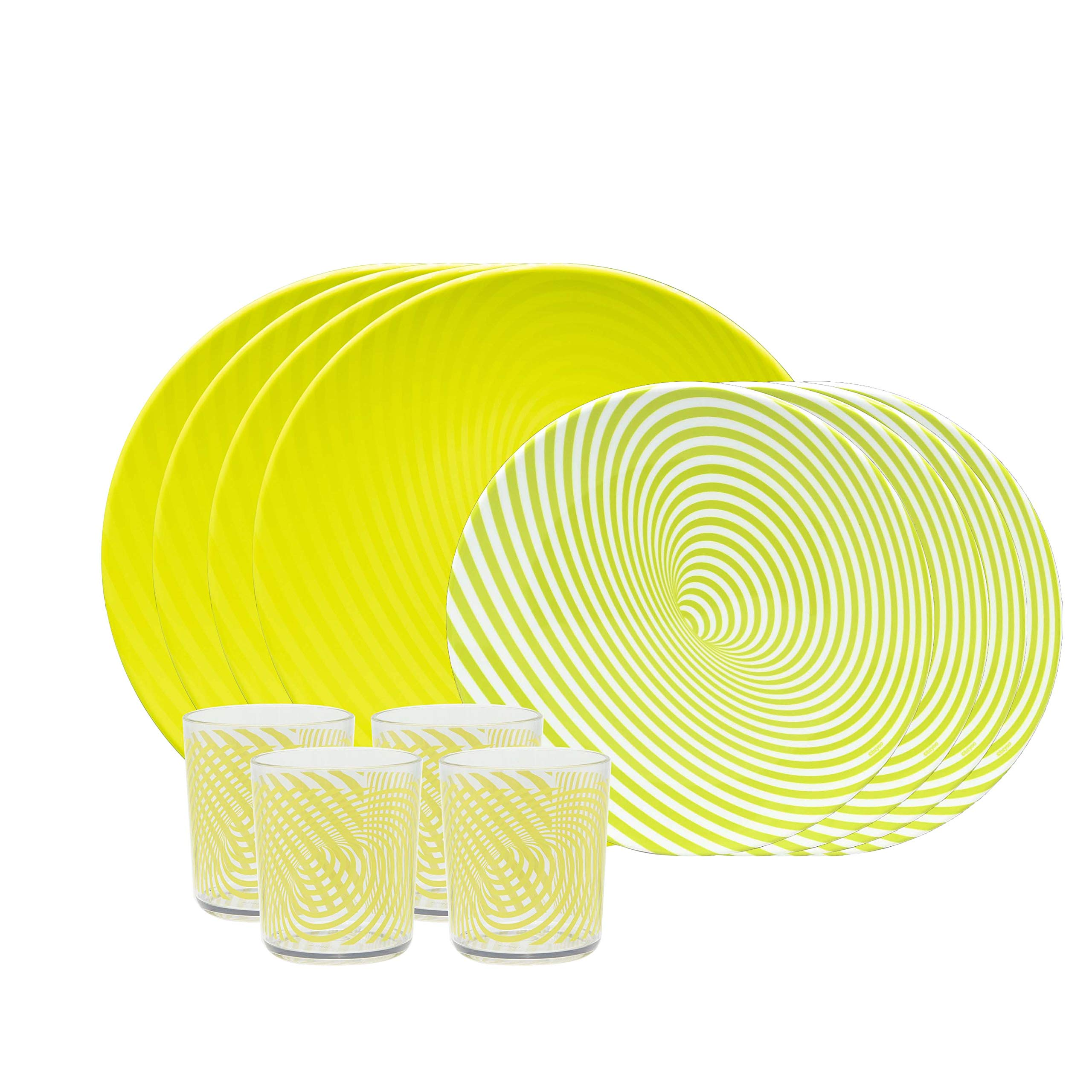 bzyoo BPA-Free Dishwasher Safe 100% Melamine Lightweight Plate & Tumbler Set Best for Indoor and Outdoor Party Environmental Friendly (12 PCS Dinnerware set, Service for 4, Hypno Green)
