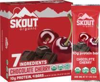 Skout Organic Chocolate Cherry Organic Protein Bars (4 Pack)   10g Plant-Based Protein per Bar   Paleo Snacks & Vegan Protein Bars   Gluten, Dairy, Grain, Peanut, Tree Nut & Soy Free