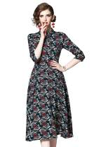 LAI MENG FIVE CATS Women's Collared Neck/V Neck Business Work A line Midi Dress