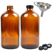 Youngever 2 Pack Amber Glass Growlers 32 Ounce with Tight Seal Lids, Perfect for Secondary Fermentation, Storing Kombucha, Kefir, One Liter Glass Beer Growler