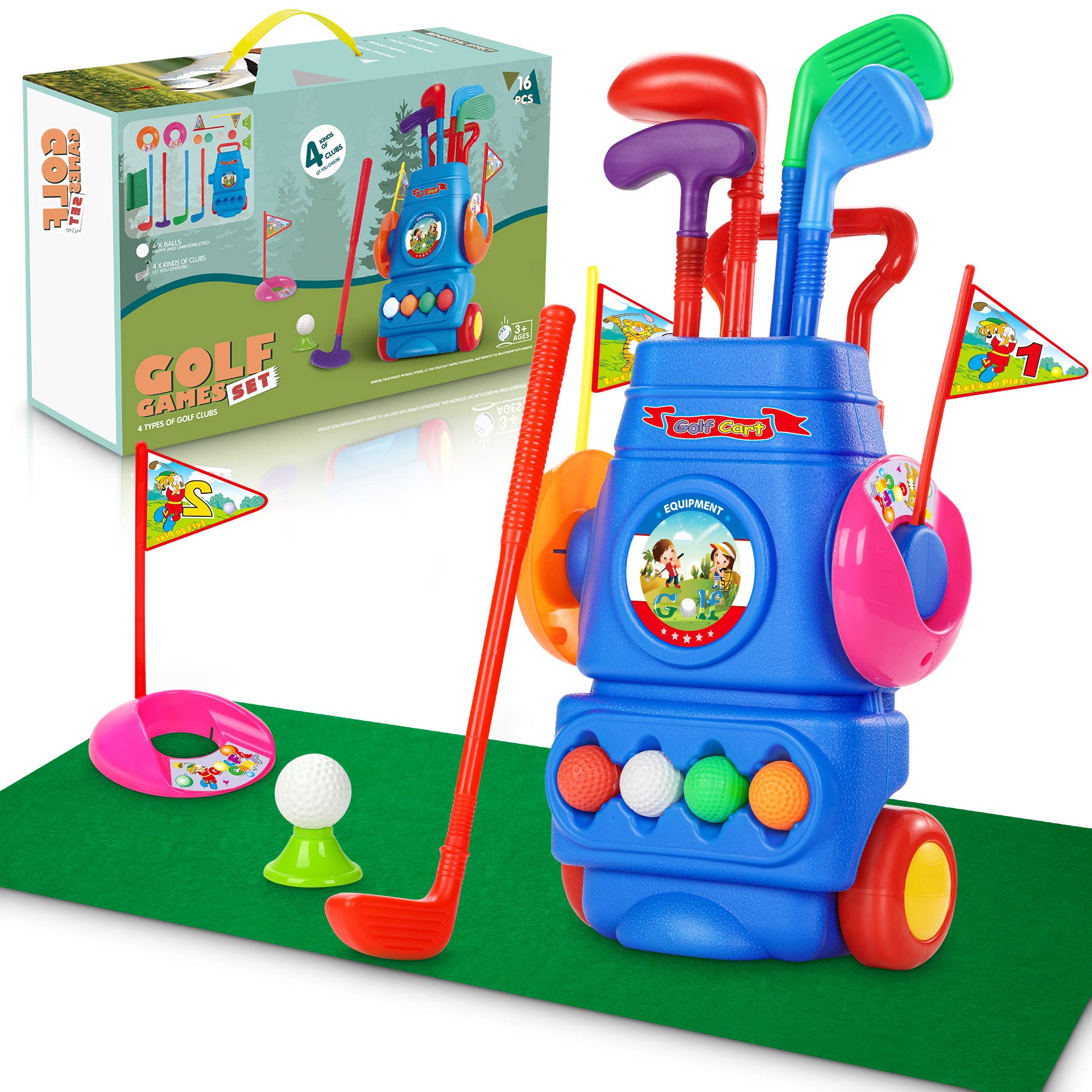 Jumpit Kids Golf Club Set Golf Cart With Wheels,Toddler Golf Set, 4 Colorful Golf Sticks & 4 Balls & 2 Practice Holes, Toddles Golf Games Toy, Early Childhood Education and Development Sport Toy Gifts