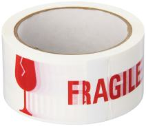 """3M 371 Printed White Carton Sealing Tape - 2 in. x 55 yds. Adhesive Tape Roll with Red """"Fragile"""" Lettering. Sealants and Adhesives"""