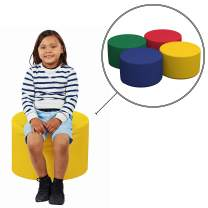 "Factory Direct Partners SoftScape 18"" Round Ottoman, Collaborative Flexible Seating for Kids, Teens, Adults, Furniture for Classrooms, Offices and Home, Junior 12"" H, (4-Piece Set) - Assorted"